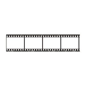 Cztery klatki z pozytywnym odcinkiem filmu o średnicy 35 mm, prosta czarna ikona na białym tle