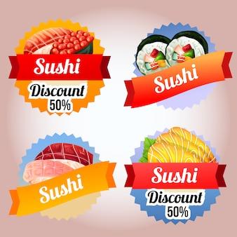 Cztery kolekcja sushi znaczek kuchni japońskiej