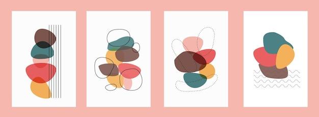 Cztery kolorowe abstrakcyjne plakaty w ilustracji wektorowych w stylu boho