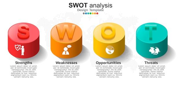 Cztery kolorowe elementy z ikonami do analizy swot