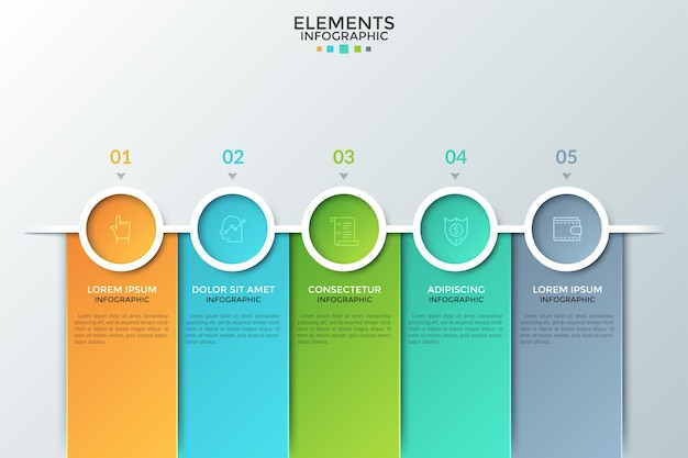Cztery kolorowe koła z ikonami cienkiej linii wewnątrz ułożone w poziomy rząd, cyfry i miejsce na tekst. koncepcja 4-stopniowego procesu biznesowego. plansza projekt układu.