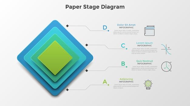 Cztery kolorowe kwadratowe elementy lub warstwy umieszczone jeden nad drugim. schemat etapu papieru. szablon projektu czysty plansza. kreatywna ilustracja wektorowa do 4-stopniowej wizualizacji struktury hierarchicznej.