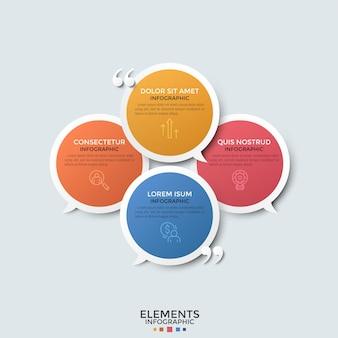 Cztery kolorowe nachodzące na siebie okrągłe balony mowy umieszczone w kole, cienkie ikony linii i cudzysłowy. koncepcja 4 wiadomości na czacie lub cytatów. szablon projektu kreatywnych plansza.