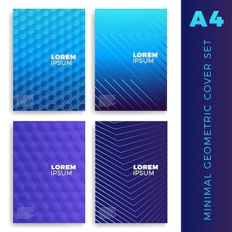 Cztery kolorowe okładki kolekcji w płaskiej konstrukcji