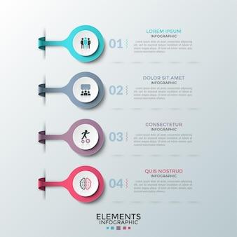 Cztery kolorowe okrągłe elementy z płaskimi piktogramami w środku umieszczonymi jeden pod drugim oraz polami tekstowymi. koncepcja 4 kroków rozwoju projektu. plansza projekt układu. ilustracja wektorowa do raportu.