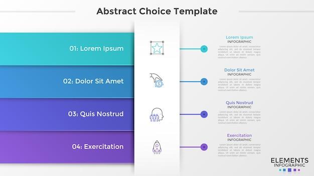 Cztery kolorowe prostokątne elementy lub wstążki, liniowe ikony i miejsce na tekst. koncepcja 4 cech projektu biznesowego. szablon projektu plansza. ilustracja wektorowa dla interfejsu menu strony internetowej.