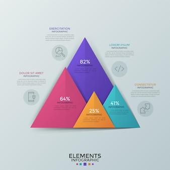 Cztery kolorowe trójkąty nakładające się ze wskazaniem procentowym, ikonami liniowymi i miejscem na tekst. porównanie wykresu słupkowego. szablon projektu kreatywnych plansza. ilustracja wektorowa do raportu statystycznego.