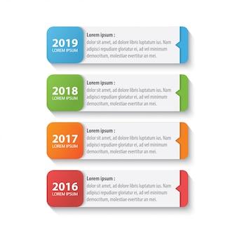 Cztery kolorowy szablon projektu infografika osi czasu