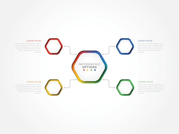 Cztery kroki 3d infographic szablon z sześciokątnymi elementami. szablon procesu biznesowego z opcjami broszury, schematu, przepływu pracy, osi czasu, sieci