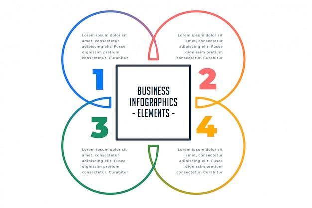 Cztery kroki biznesu infografiki szablon