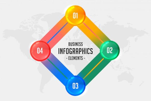 Cztery kroki biznesu infographic szablon