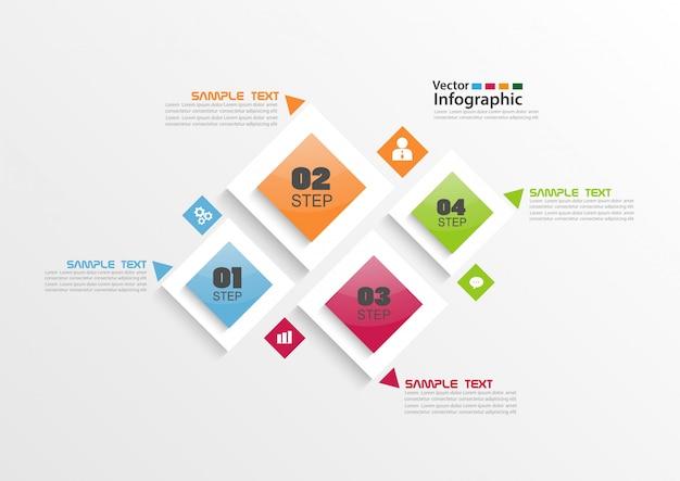 Cztery kroki infographic z kolorowymi kwadratami
