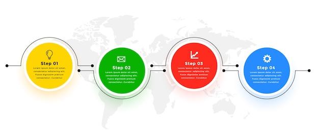 Cztery kroki nowoczesny okrągły połączony szablon infografiki