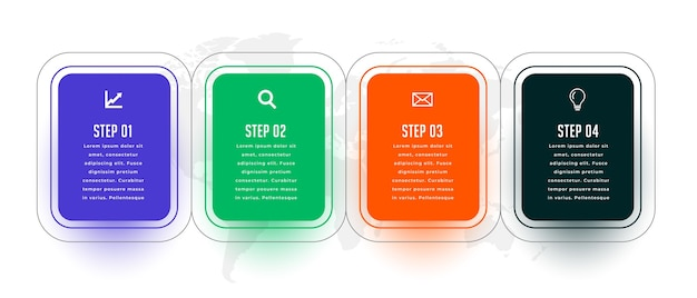 Cztery kroki nowoczesny plansza szablon