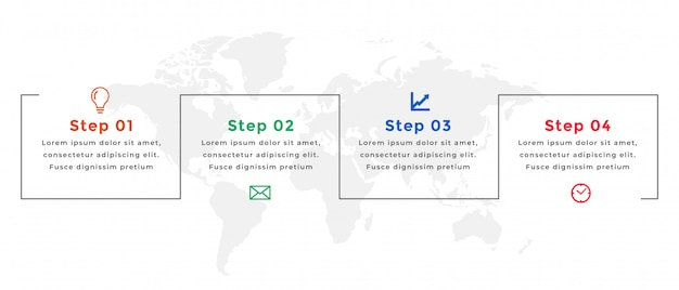 Cztery kroki osi czasu infographic szablon biznes projekt