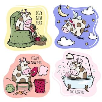 Cztery krowy postacie słodkie byki boże narodzenie przygotowanie do wesołych świąt ferie zimowe kreskówka ręcznie rysowane hygge clip art wektor zestaw ilustracji do druku