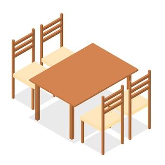 Cztery krzesła i prostokątny stół. płaski izometryczny. drewniane produkty. na białym tle. ilustracja wektorowa.
