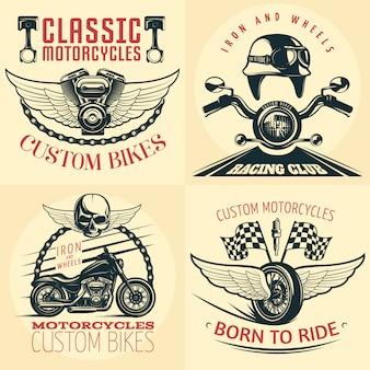 Cztery kwadratowe motocyklowe szczegółowe godło ustawione na świetle z opisami niestandardowych motocykli urodzonych do jazdy oraz ilustracji wektorowych żelaza i kół