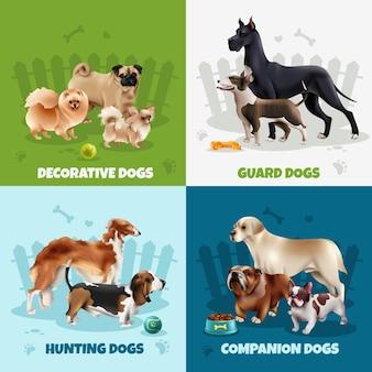 Cztery kwadraty rasy psów projektują zestaw ikon z ozdobnymi psami towarzyszącymi myśliwskimi, które opisują ilustrację wektorową