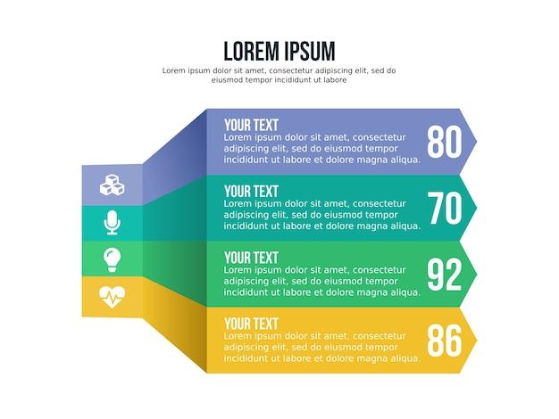 Cztery listy infografika element i szablon prezentacji