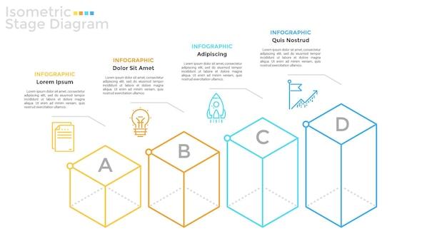 Cztery literowane elementy izometryczne ułożone w poziomy rząd, symbole liniowe i miejsce na tekst. koncepcja 4 etapów rozwoju i postępu biznesu. szablon projektu plansza. ilustracja wektorowa.