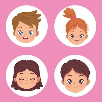 Cztery małe dzieci głowy