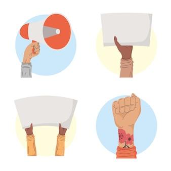 Cztery międzyrasowe ręce protestujących