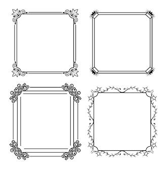 Cztery monochromatyczne ramki w stylu linii białym tle