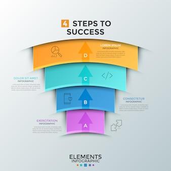 Cztery nakładające się na siebie kolorowe elementy przypominające łuki z ikonami cienkiej linii, strzałkami skierowanymi w górę i miejscem na tekst. koncepcja 4 kroków do sukcesu w biznesie. szablon projektu plansza. ilustracja wektorowa.