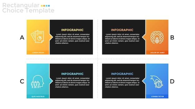 Cztery oddzielne kolorowe prostokątne elementy z liniowymi symbolami i miejscem na tekst wewnątrz. koncepcja 4 opcji biznesowych do porównania. szablon projektu plansza. ilustracja wektorowa do broszury.