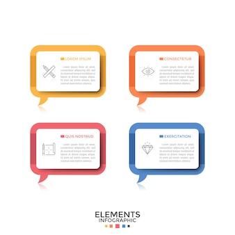 Cztery oddzielne prostokątne dymki lub dymki z piktogramami w postaci cienkich linii i miejscem na tekst w środku. koncepcja 4 cytatów lub fraz. szablon projektu kreatywnych plansza. ilustracja wektorowa.