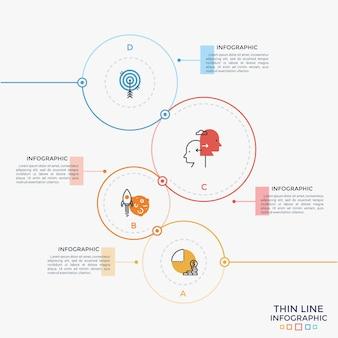 Cztery okrągłe elementy o różnym kolorze i rozmiarze z piktogramami w postaci cienkiej linii w środku i polami tekstowymi. koncept 4 opcji biznesowych do wyboru. szablon projektu kreatywnych plansza. ilustracja wektorowa.