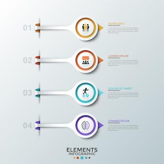 Cztery okrągłe elementy z płaskimi ikonami wewnątrz umieszczonymi jeden pod drugim i strzałkami wskazującymi pola tekstowe. koncepcja 4 poziomów rozwoju startupu. szablon projektu plansza.