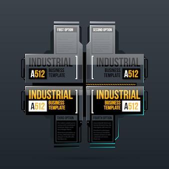 Cztery opcje szablon w stylu przemysłowym
