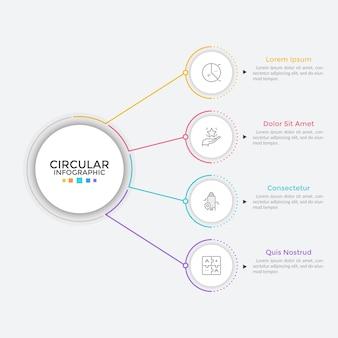 Cztery papierowe białe okrągłe elementy ułożone w pionowym rzędzie i połączone liniami z głównym okręgiem. koncept 4 funkcji biznesowych do wyboru. prosty szablon projektu plansza. ilustracja wektorowa płaski.