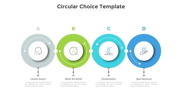 Cztery papierowe białe okrągłe elementy ułożone w poziomym rzędzie. szablon projektu plansza. koncepcja 4 kolejnych etapów rozwoju biznesu. ilustracja wektorowa paska postępu, wykresu procesu.