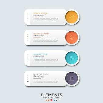 Cztery papierowe białe prostokąty z miejscem na tekst i kolorowymi okrągłymi elementami z piktogramami w postaci cienkiej linii. koncepcja menu strony internetowej. szablon projektu nowoczesny plansza.