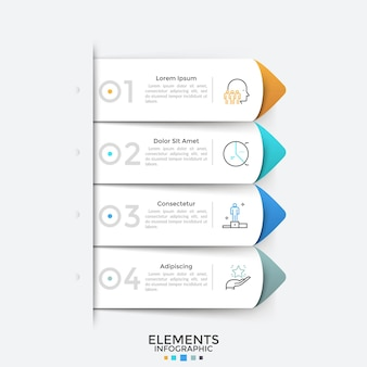 Cztery papierowe białe wskaźniki lub zakładki w kształcie strzałek umieszczone jeden pod drugim. szablon projektu nowoczesny plansza. koncepcja listy z 4 opcjami biznesowymi do wyboru. ilustracja wektorowa do prezentacji.