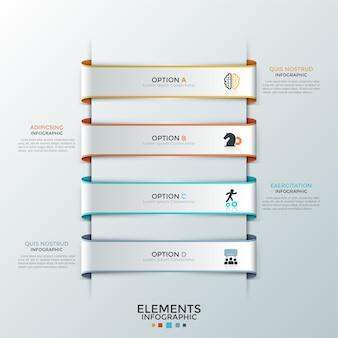 Cztery papierowe białe wstążki z płaskimi symbolami wewnątrz umieszczone jedna pod drugą i polami tekstowymi. koncepcja listy z 4 opcjami biznesowymi. szablon projektu kreatywnych plansza. ilustracja wektorowa do raportu.