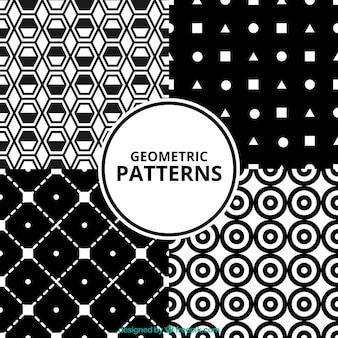 Cztery piękne geometryczne wzory w czerni i bieli