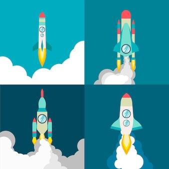 Cztery plakaty z rakietą w stylu płaski podróż kosmiczna do kosmosu ilustracja wektorowa z latającymi rakietami kreskówek