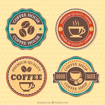 Cztery plakietki na kawę