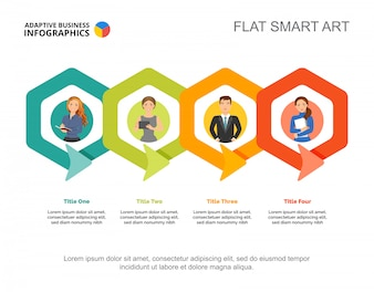 Cztery połączone sześciokątów szablon wykresu procesu do prezentacji. Dane biznesowe.