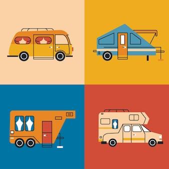 Cztery pojazdy rekreacyjne ustawione kolory
