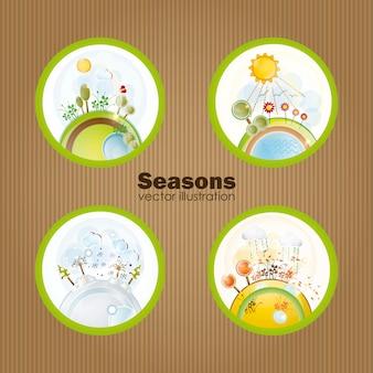 Cztery pory roku w retro kulki wektorowych ilustracji
