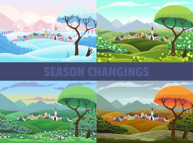 Cztery pory widoku wioski