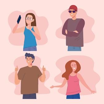Cztery postacie influencerów