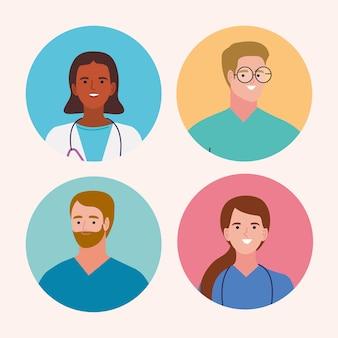 Cztery postacie personelu medycznego