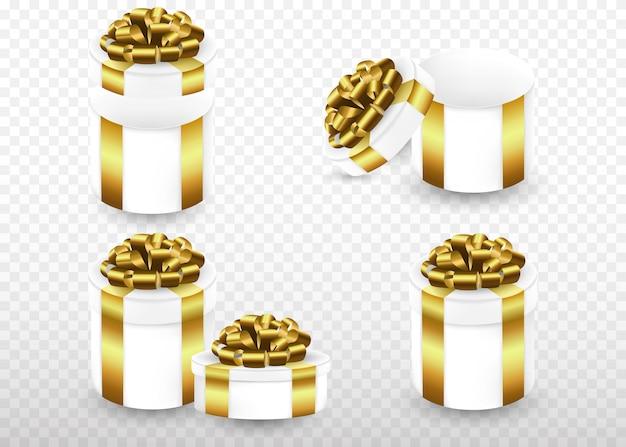 Cztery pudełka na prezenty ze złotą wstążką i kokardą. ustaw pola okolicznościowe w różnych formach