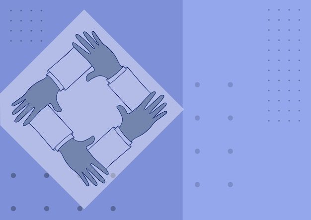 Cztery ręce, trzymające ramię razem, pokazujące symbol połączenia, trzyma projekt połączonych ramion